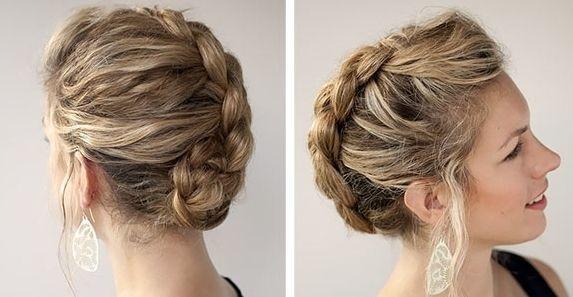 Вечерняя прическа на средние волосы с косами фото